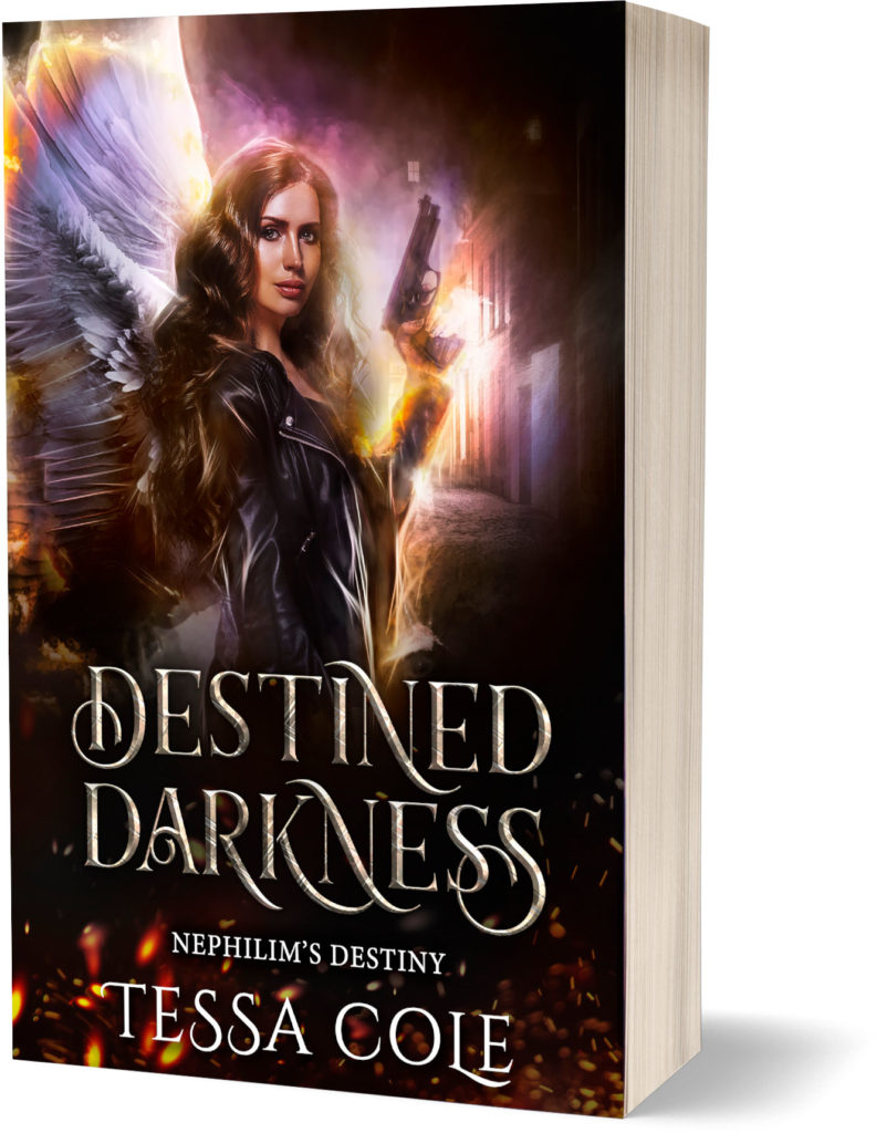 Destined Darkness, a reverse harem paranormal romance and the first book in the Nephilim's Destiny series by Tessa Cole