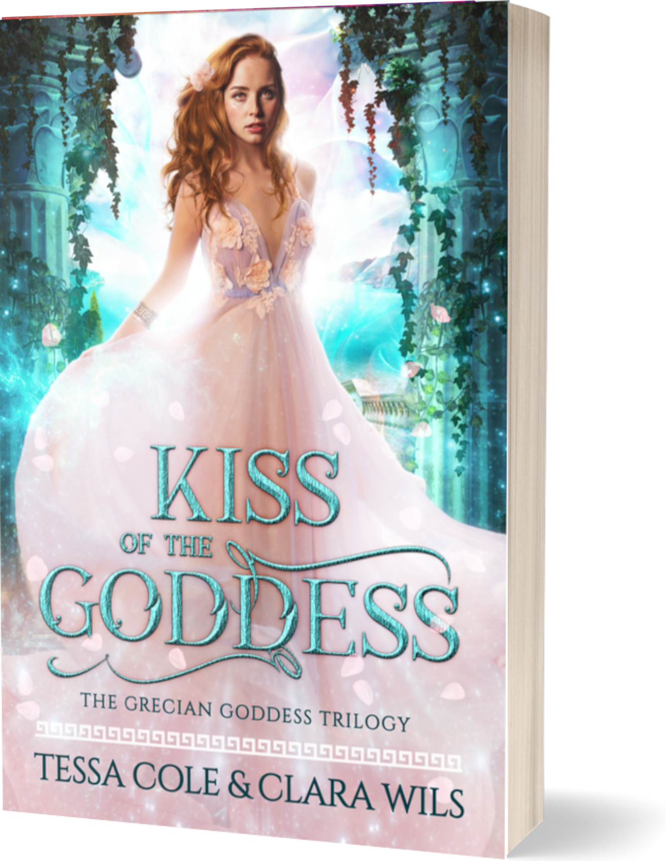 Kiss of the Goddess, a reverse harem paranormal romance and the first book in the Grecian Goddess Trilogy by Tessa Cole